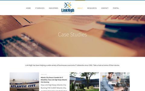 Screenshot of Case Studies Page linkhigh.com - Case Studies - captured Oct. 6, 2017