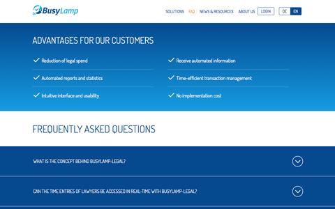 Screenshot of FAQ Page busylamp.com - BusyLamp - The web-based legal management platform - captured Oct. 5, 2014
