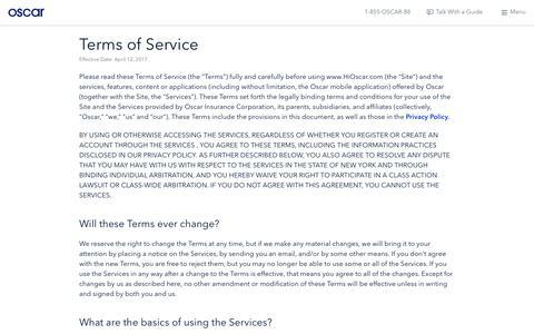 Oscar | Terms of Service
