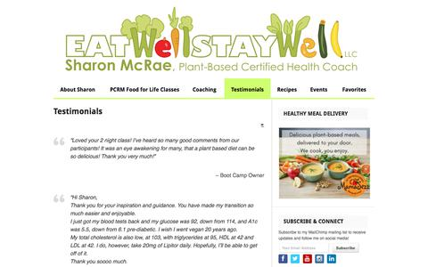 Screenshot of Testimonials Page eatwell-staywell.com - Testimonials | Eat Well, Stay Well | Sharon McRae | Plant-Based Certified Health Coach | Columbia, MD - captured Jan. 19, 2020