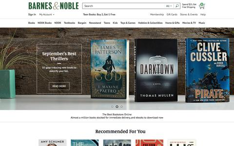 Screenshot of Home Page barnesandnoble.com - Online Bookstore: Books, NOOK ebooks, Music, Movies & Toys | Barnes & Noble® - captured Sept. 21, 2016