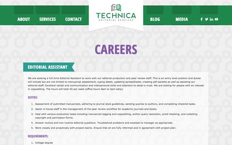 Screenshot of Jobs Page technicaeditorial.com - Careers   Technica Editorial Services - captured Nov. 4, 2017