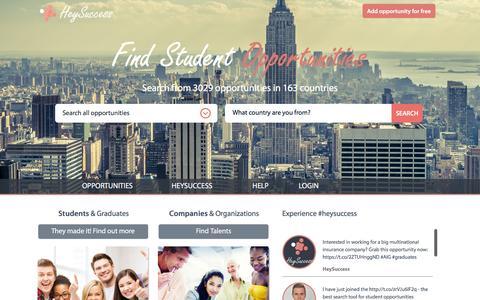 Screenshot of Home Page heysuccess.com - HeySuccess.com - The Hub for student opportunities - captured Oct. 14, 2015