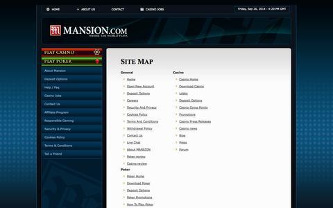 Screenshot of Site Map Page mansion.com - Mansion Casino Site Map - www.Mansion.com - captured Sept. 26, 2014