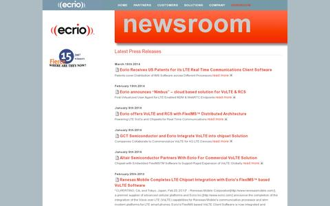 Screenshot of Press Page ecrio.com - Newsroom - captured July 19, 2014