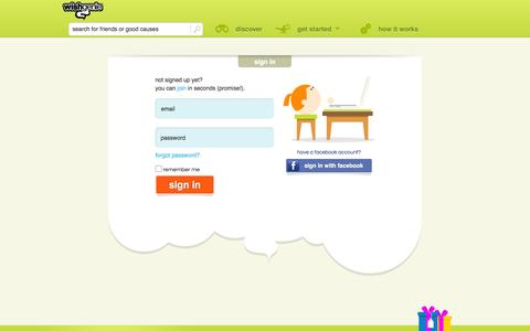 Screenshot of Login Page wishgenie.com - sign in | wishgenie - captured Sept. 12, 2014