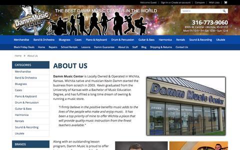 Screenshot of About Page dammmusic.com - Damm Music Center Wichita, Instrument Rentals & Lessons - captured Nov. 23, 2016