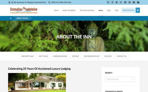 Screenshot of About Page domainemadeleine.com - ABOUT THE INN | Olympic National Park Lodging, Port Angeles Bed and Breakfast, Sequim Inn | Domaine Madeleine Bed and Breakfast - captured April 13, 2017