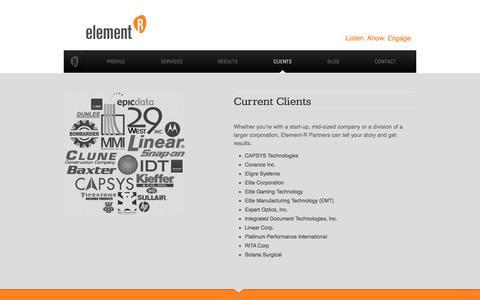 Screenshot of Testimonials Page rurelevant.com - Clients | Element-R Partners, LLC - captured Jan. 27, 2016