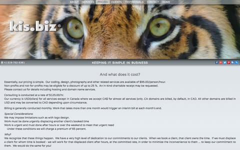 Screenshot of Pricing Page kis.biz - Keeping It Simple in Business - KIS.BIZ® - captured July 9, 2018
