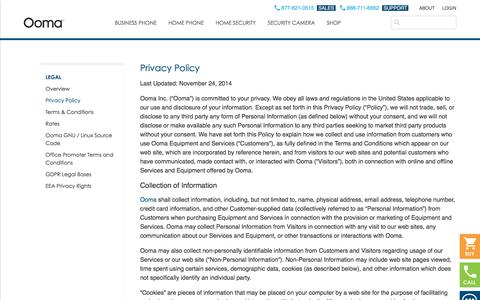 Screenshot of Privacy Page ooma.com - Privacy Policy | Ooma.com - captured Sept. 1, 2019