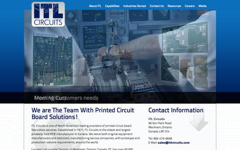 Screenshot of Home Page itlcircuits.com - Home - ITL Circuits - captured Sept. 30, 2014