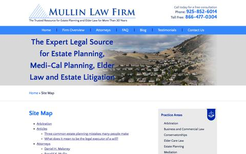 Screenshot of Site Map Page mullinlaw.com - Site Map | Mullin Law Firm | Concord California - captured Feb. 16, 2016