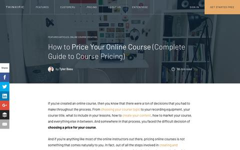 Screenshot of Pricing Page thinkific.com - How to Price Your Online Course (Complete Guide to Course Pricing) - captured Sept. 19, 2018