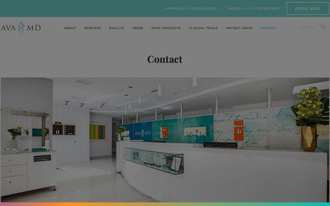 Screenshot of Contact Page avamd.com - Contact - Ava MD - captured July 31, 2018