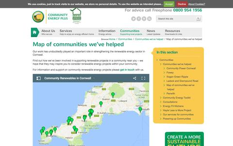Screenshot of Maps & Directions Page cep.org.uk - Cornwall Renewables Map   Community Energy Plus : Independent Energy Experts - captured Nov. 9, 2016
