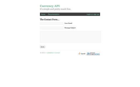 Screenshot of Contact Page currency-api.appspot.com - Currency API | Login - captured Oct. 30, 2014