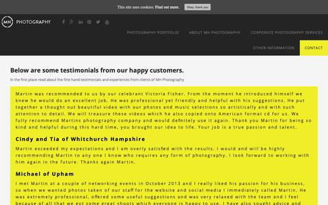 Screenshot of Testimonials Page mhphotographyhampshire.co.uk - testimonials read about the first hand experiences from clients - captured Oct. 1, 2018