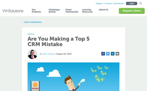 Screenshot of Blog vinsolutions.com - VinSolutions - Blog - Are You Making a Top 5 CRM Mistake? - captured Dec. 3, 2019