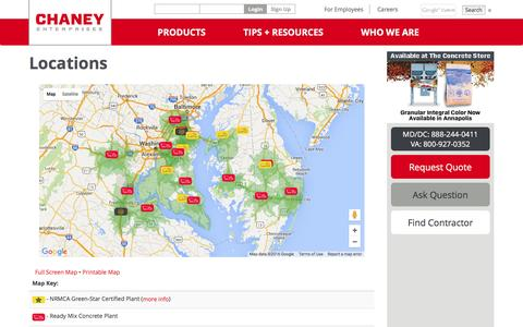 Screenshot of Locations Page chaneyenterprises.com - Chaney Enterprises Locations in Maryland and Virginia - captured July 12, 2016