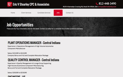 Screenshot of Jobs Page ericcpc.com - Recruiting Services - Eric V Stearley CPC & Associates - Brazil, Indiana - captured Nov. 9, 2016