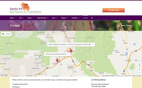 Screenshot of Contact Page santafebotanicalgarden.org - Contact   Santa Fe Botanical Garden - captured Dec. 22, 2015