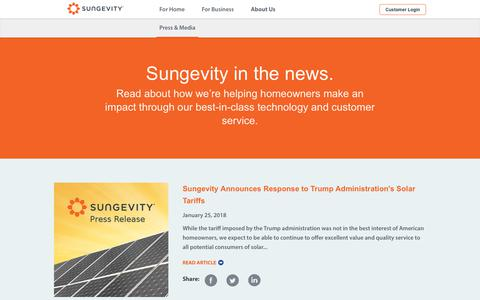 Screenshot of Press Page sungevity.com - News - Sungevity - captured Jan. 28, 2018