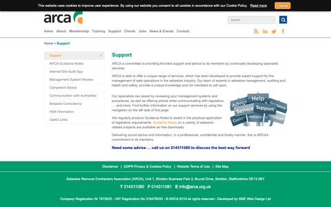 Screenshot of Support Page arca.ie - Range of support services from Asbestos Removal Contractors Association - ARCA - captured Oct. 24, 2018