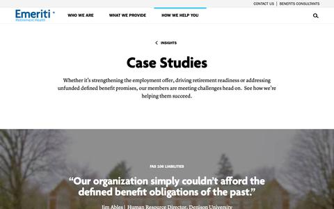 Screenshot of Case Studies Page emeritihealth.org - Case studies  | Emeriti Retirement Health - captured Sept. 28, 2018