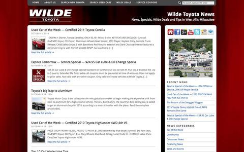 Screenshot of Blog wildetoyota.com - Wilde Toyota Blog - captured Oct. 7, 2014