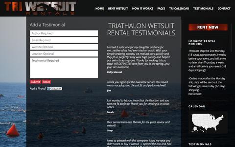 Screenshot of Testimonials Page triwetsuitrentals.com - Client Testimonials | - captured Oct. 9, 2014