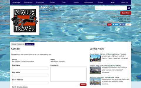 Screenshot of Contact Page myapollotravel.com - Contact | Apollo Travel - captured Oct. 8, 2017