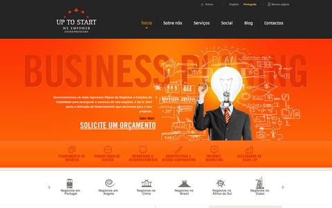 Screenshot of Home Page uptostart.com - Project Finance | Feasibility Study | Start Up Business Plan - captured Oct. 6, 2014