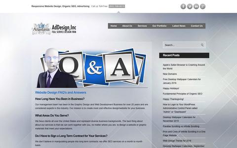 Screenshot of FAQ Page anaaddesign.com - Anastasia Website Design Website Design - Anastasia Web Design - captured Feb. 6, 2016