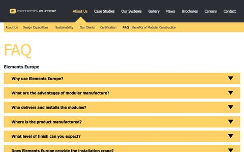 Screenshot of FAQ Page elements-europe.com - Frequently Asked Questions   Elements Europe - captured July 17, 2018