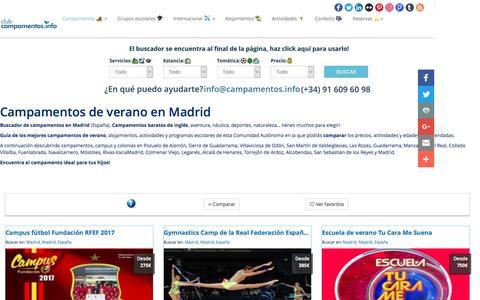 Screenshot of campamentos.info - Campamentos de verano en Madrid, España - captured March 28, 2017
