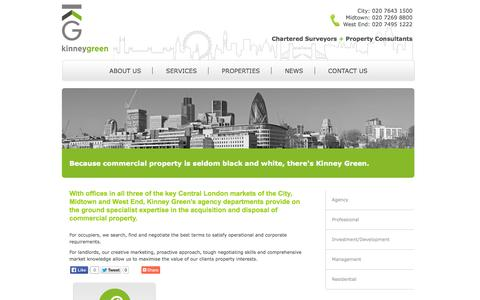Screenshot of Services Page kinneygreen.com - Agency Services - kinney green - chartered surveyors + property consultants - captured Sept. 30, 2014
