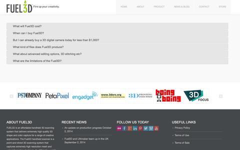 Screenshot of FAQ Page fuel-3d.com - Fuel3D FAQ » Fuel3D - captured Oct. 28, 2014