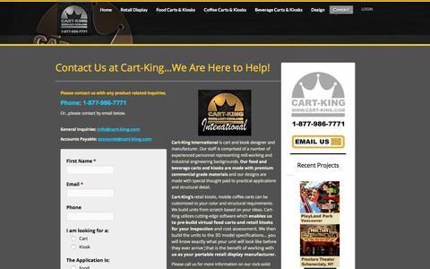 Screenshot of Contact Page cart-king.com - Contact Cart and Kiosk Manufacturer and Fabricator, Cart-King - captured March 23, 2016