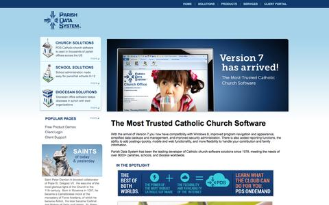 Screenshot of Home Page parishdata.com - Church Software by Parish Data System: Catholic Church Software - captured Oct. 1, 2014