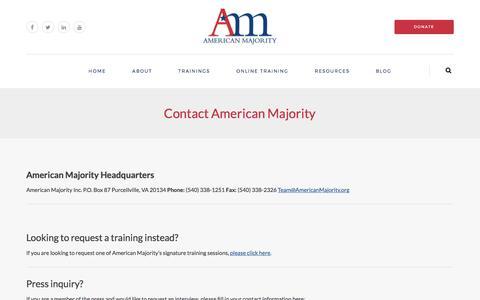 Screenshot of Contact Page americanmajority.org - Contact American Majority | American Majority - captured May 30, 2017