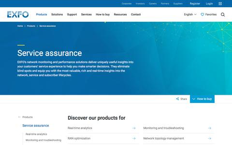 Screenshot of Products Page exfo.com - Service Assurance | EXFO - captured Oct. 9, 2019