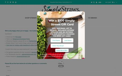 Screenshot of Contact Page simplystraws.com - Contact Us - captured Dec. 10, 2018