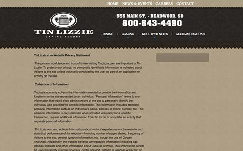 Screenshot of Privacy Page tinlizzie.com - Privacy Policy   Tin Lizzie Casino - captured Oct. 7, 2014