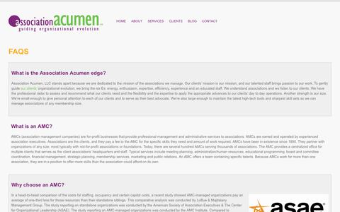 Screenshot of FAQ Page associationacumen.com - Association management questions and answers. : Association Acumen, LLC - captured July 31, 2018
