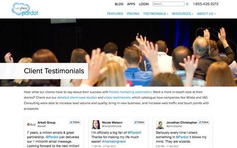 Screenshot of Testimonials Page pardot.com - Client Testimonials - Pardot - captured Sept. 18, 2014