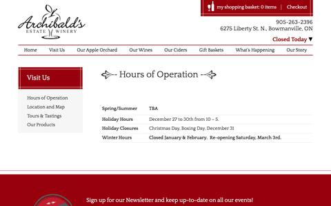 Screenshot of Hours Page archibaldswinery.com - Hours of Operation Archibald Apple Orchard Toronto GTA, Apple Picking Durham, Ontario Winery - captured Jan. 27, 2018