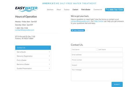 Screenshot of Contact Page easywater.com - EasyWater  » Contact - captured July 15, 2018