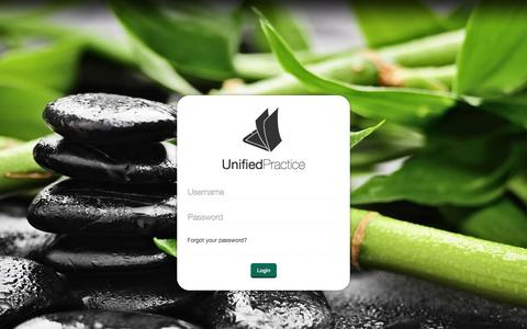 Screenshot of Login Page unifiedpractice.com - Unified Practice - captured Oct. 7, 2014