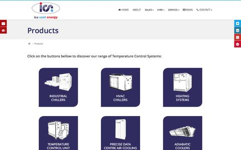 Screenshot of Products Page icscoolenergy.com - ICS Cool Energy - HVAC Systems & Industrial Cooling - captured Dec. 18, 2015
